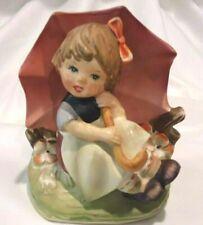 Vintage Glazed Ceramic Royal Crown Hand Painted Umbrella Girl Figurine Japan