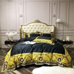Egyptian Cotton Bedding Set Back Gold Crown Duvet Cover set Bed sheet Queen King