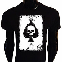 Ace of Spades Skull T-Shirt SCREENPRINTED Rock Goth Punk Metal Biker Gothic