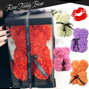 Valentine Artificial Rose Teddy Bear Flower Anniversary Gift Bouquet With Box