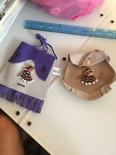 Pair New Souvenir Fringed Suede Pouch purses W Beaded Dolls Arizona Southwestern