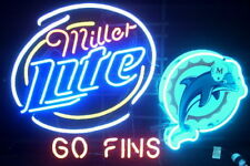 """New Miller Lite Miami Dolphins Beer Bar Pub Neon Light Sign 24""""x20"""""""