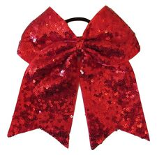 """NEW """"FANCY SEQUIN Red"""" Cheer Bow Pony Tail 3"""" Ribbon Girls Hair Bow Cheerleading"""