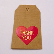 48x Fuschia Dark Pink Gold Lettering Heart Thank You Stickers 32mm x 28mm