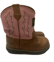 JOHN DEERE Girls Infant Size 7 Johnny Popper Pink Brown Cowboy Boots Dan Post