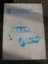 RARE TRIUMPH TOLEDO TS CAR PARTS CATALOGUE.1974.PART No RTC9102.CLASSIC CAR.