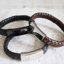 Mens Leather Engraved Bracelet -Any Personalisation - Choice of Colors & Fonts