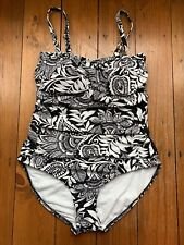 Ex Marks and Spencer Swimsuit Size 24 Floral Bandeau Black & White New