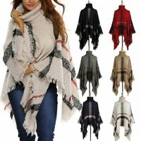 Womens Pullover Jumper Sweater Ladies Poncho Cape Tops Coat Cardigans Outwear UK