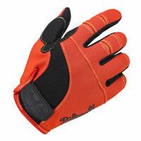 Biltwell Moto Motorbike Motorcycle Textile Gloves Orange / Black / Yellow