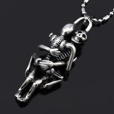 Hot Men Infinity Tibet Silver Black Stainless Steel Skull Pendant Chain Necklace