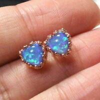 1.5 Ct Heart Blue Opal Earring Stud Women Jewelry 14K Gold Plated Nickel Free