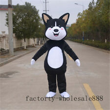 Unisex Husky Dog Mascot Costumes Black Adult Fox Advertising Suit Outfit Parades