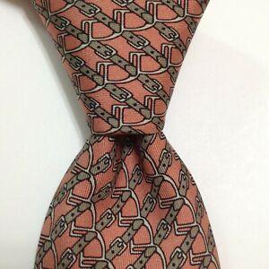 HERMES 7020 TA Men's 100% Silk Necktie FRANCE Luxury EQUESTRIAN Pink/Tan GUC