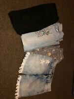 LOT of 3 Girls Blue Denim Jeans and 1 Jean shorts nice condition Tinker bell *6*