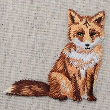 New Iron-On Applique Embroidered Patch Wild Red Fox Sitting