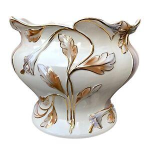 Large Vintage Art Nouveau Style White Ceramic Jardiniere Planter Plant Pot