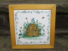 Honey Bee Hive Tile Trivet Framed Spring Kitchen Home Decor Vintage Hand Panted