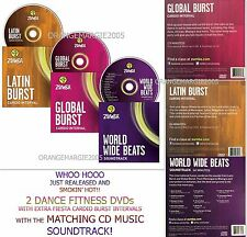 ZUMBA Fitness 2 DVD (s) Latin+Global Burst AND The Matching CD MUSIC Instructors