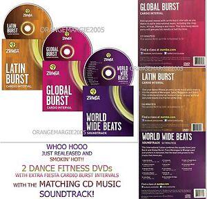 ZUMBA Fitness 2 DVD Latin+Global Burst+The Matching Music CD FunEasy Weight Loss
