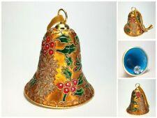 Vintage Large Christmas Cloisonne Bell Ornament Gold Enamel Poinsettia Holly