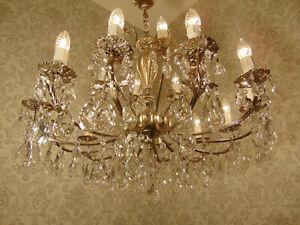 antik großer 18 Fl  Kronleuchter Lüster Messing  Bronze Silber Kristall ca.1930