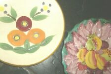 2 Vintage Very Retro 60s Kitsch Display Plates-Fruit/Floral-Italy/Japan