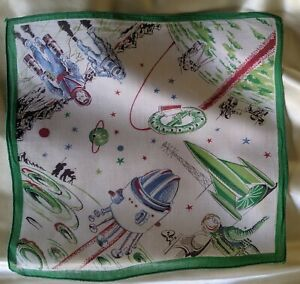 SPACE AGE 1950S PRINT HANDKERCHIEF DEADSTOCK