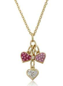 14K Gold Plated Pink, White & Hot Pink Crystal Heart Cluster Chain Necklace