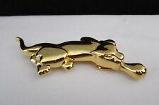 Men Women Buckle Shiny Gold Metal Trendy Large Tiger Panther Narrow Skinny Belt