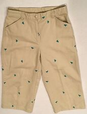 LL BEAN Womens capris pants 8 tan beige WOMEN sand chair embroidered crop