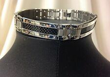 "Fiber Inlay Bracelet, 11 mm, Euc Men's 8"" Stainless Steel with Black Carbon"
