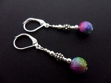 A PAIR OF PRETTY RAINBOW BEAD DANGLY LEVERBACK HOOK  EARRINGS. NEW.
