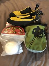 Evolv Addict Rock Climbing Shoes Lemon Yellow Mens 8.5 (41.5) Chalk bag/2 Balls.