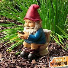 "Enjoyable Novelty Garden Gnome Funny Reading Phone on the Throne 9.5"" Yard Decor"