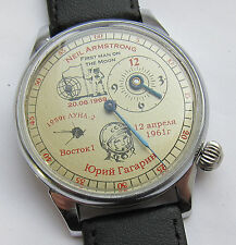 USSR.Soviet watch.Regulateur.Main milestones of Cosmonautics. Gagarin. Armstrong