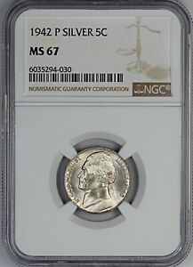 1942-P NGC MS 67 United States Jefferson Nickel - Silver Wartime