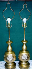 Pair Vtg Mid Century Brass Base Gold Glass Floral White Flowers Table Lamps