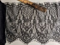 "3 Yards Black French Eyelash Mesh Lace Trim for Sewing/Crafts/Shawl/10"" Wide"
