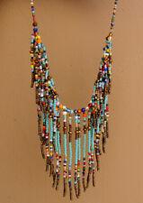 Handmade Bohemian Turquoise Bead Fringe Necklace