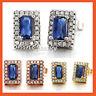 18K GOLD GF BLUE SAPPHIRE LAB DIAMOND SOLID WOMENS GIRLS BAGUETTE STUD EARRINGS