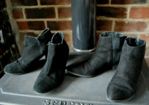 2 pair black ankle boots H&M Chelsea Soleflex heeled ankle suede leather 42 8