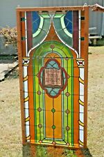 "Bright Stained Glass Panel 66"" x 32"" Bible Verse Rev 3:20 Door Entry Way Church"