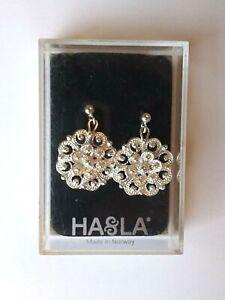 !HASLA NORWAY 925 Sterling Silver Round Floral Drop Dangle Stud Earrings