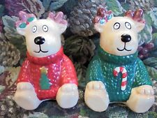 Vintage Reindeer Christmas Salt and Pepper Shakers SIGNED