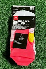 Under Armour Women's UA Charged Cushion No Show Tab Pink Running Socks M NEW