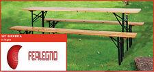 SET BIRRERIA IN LEGNO TAVOLO E PANCHE PIEGHEVOLI 220X70X76h GIARDINO ART.57436