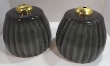 PAIR OF VINTAGE SMOKY GLASS CEILING LAMP SHADES WITH A RIBBED DESIGN