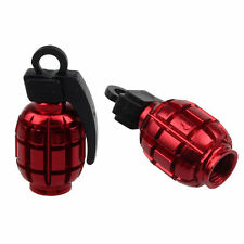 2 PCS Grenade Alloy Valve Caps Dust Covers Bike Bicycle MTB BMX Car Red