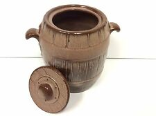 FRANKOMA Pottery Barrel Cookie Jar With Lid Handles Vintage